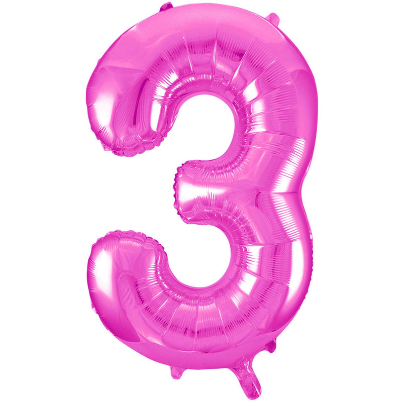 Giant Hot Pink Number Foil Balloon - 3