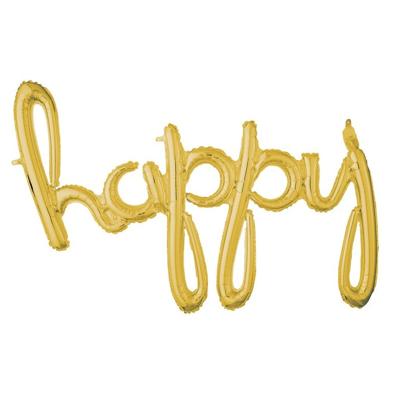 Gold Script Foil Balloon Banner Phrase - Happy
