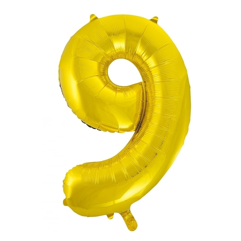 Giant Gold Number Foil Balloon - 9