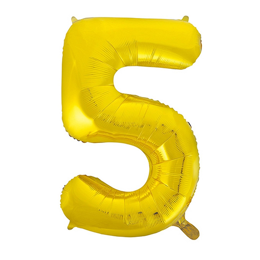 Giant Gold Number Foil Balloon - 5