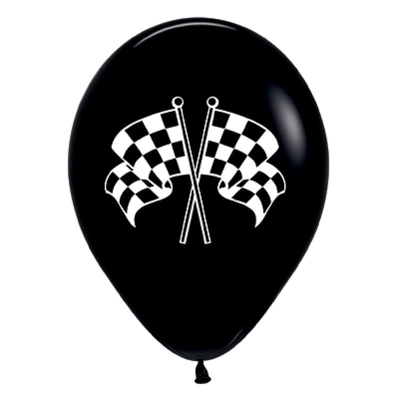 Sempertex | Black & White Racing Flags Balloon | Racing Car Party Theme & Supplies