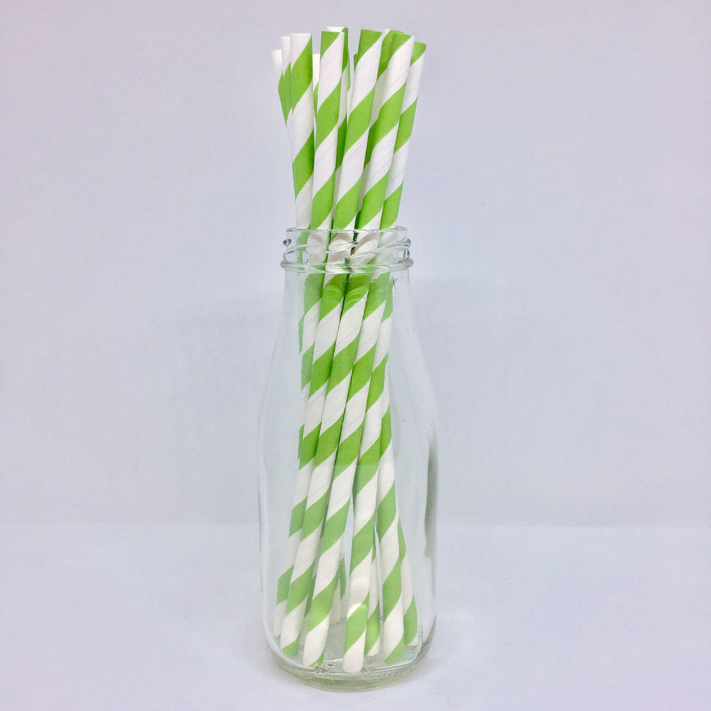 Apple Green Striped Paper Straws