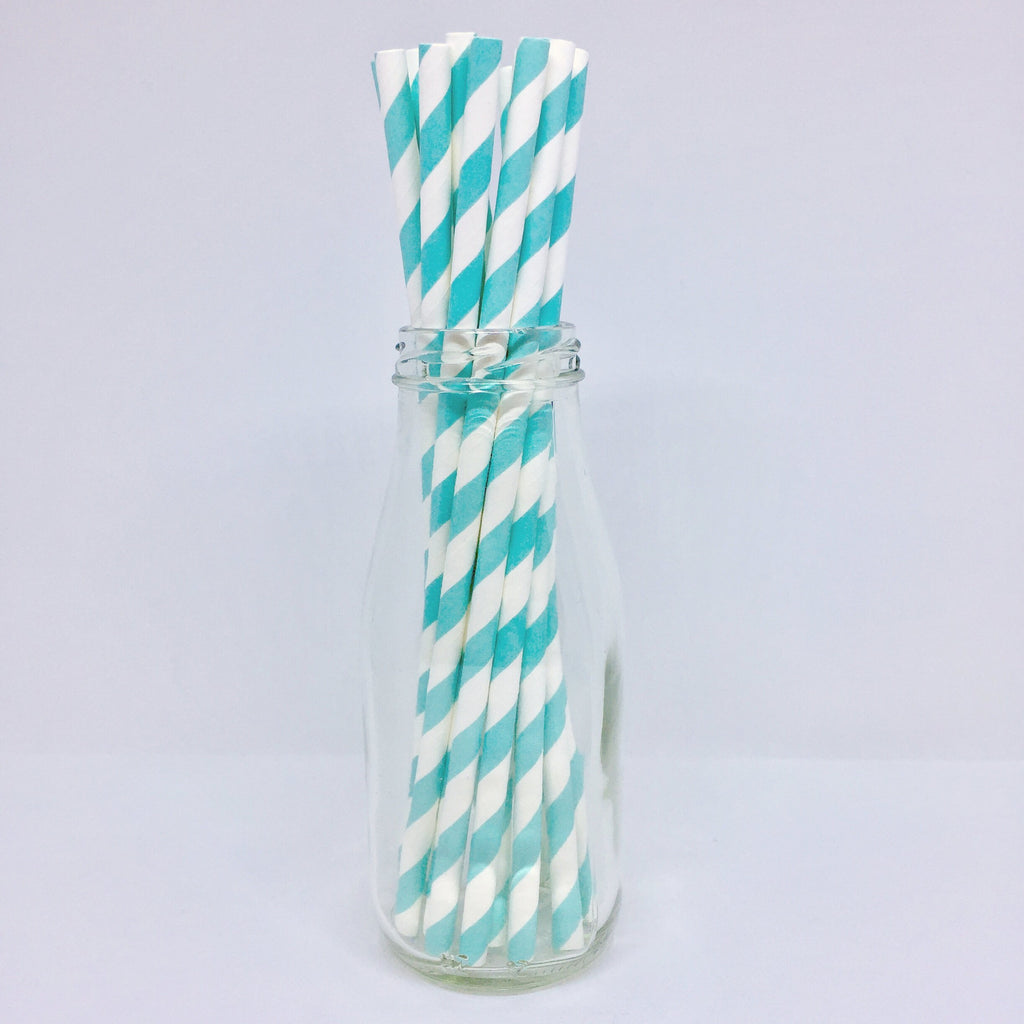 Pale Blue Striped Paper Straws