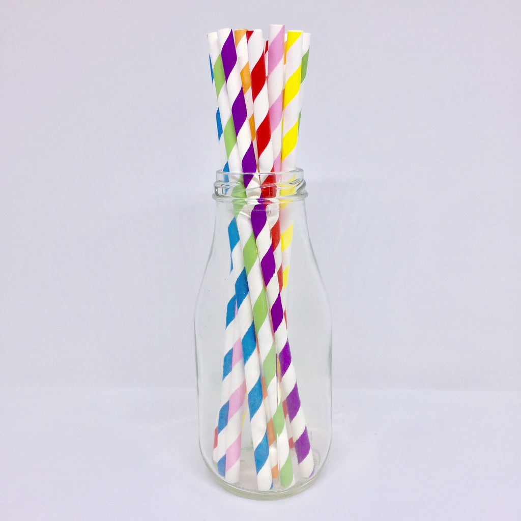 Rainbow Striped Paper Straws