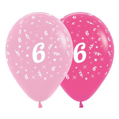 6 Pack Age 6 Balloons - Pink & Hot Pink