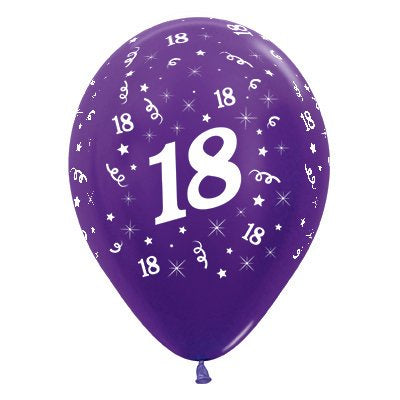 6 Pack Age 18 Balloons - Metallic Purple