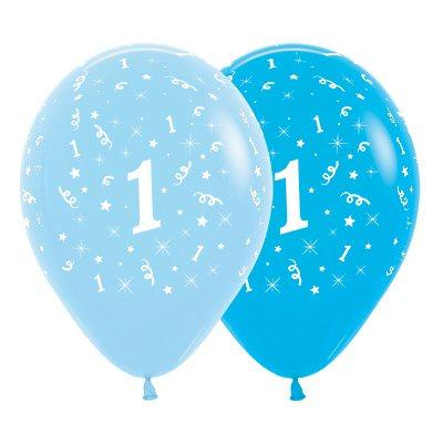 6 Pack Age 1 Balloons - Blue & Royal Blue
