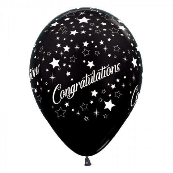 6 Pack Congratulations Stars Balloons - Metallic Black