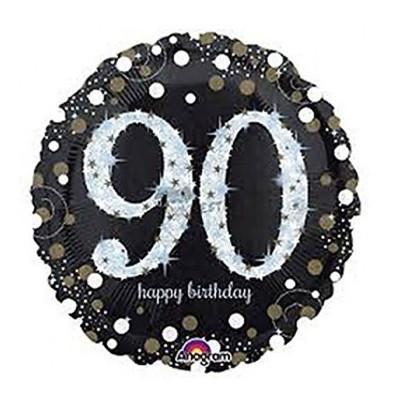 Sparkling Black 90th Foil Balloon