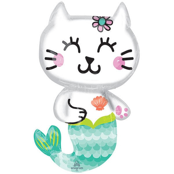 Mermaid Cat SuperShape Foil Balloon