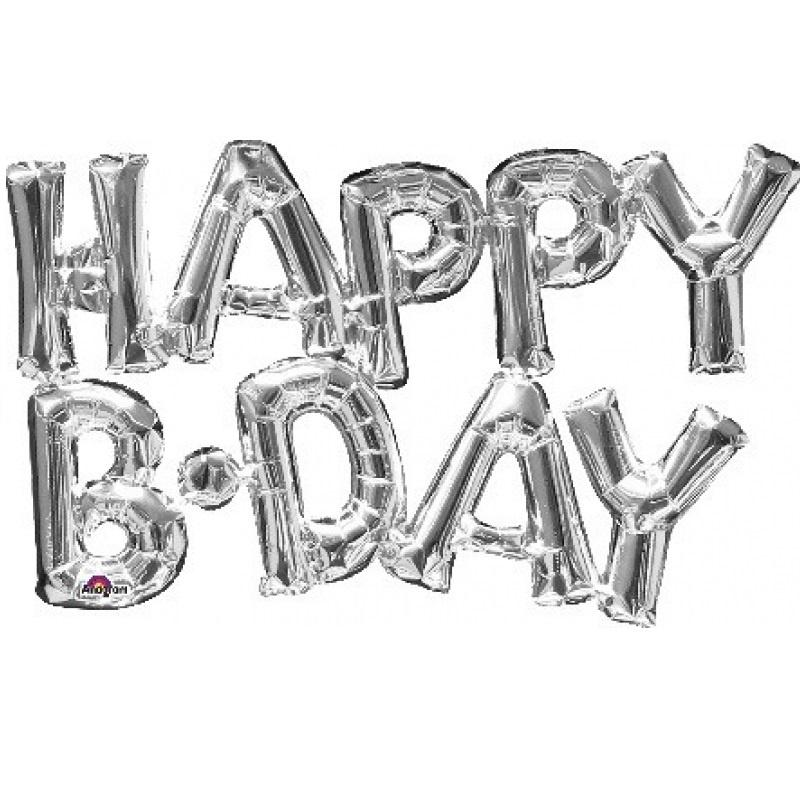 Silver Foil Balloon Banner Phrase - Happy Bday