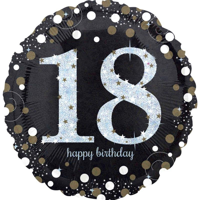 Sparkling Black 18th Foil Balloon