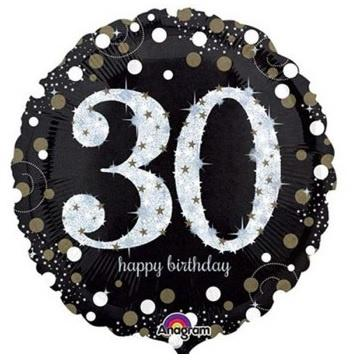Sparkling Black 30th Foil Balloon