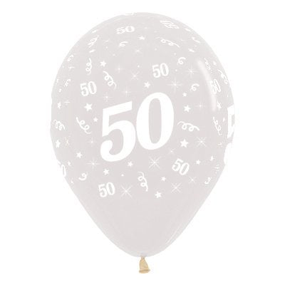 6 Pack Age 50 Balloons - Crystal Clear
