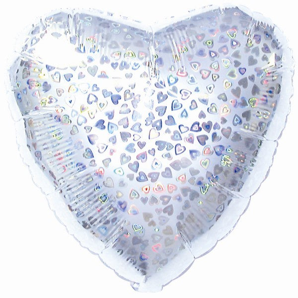 Silver Prismatic Heart Foil Balloon