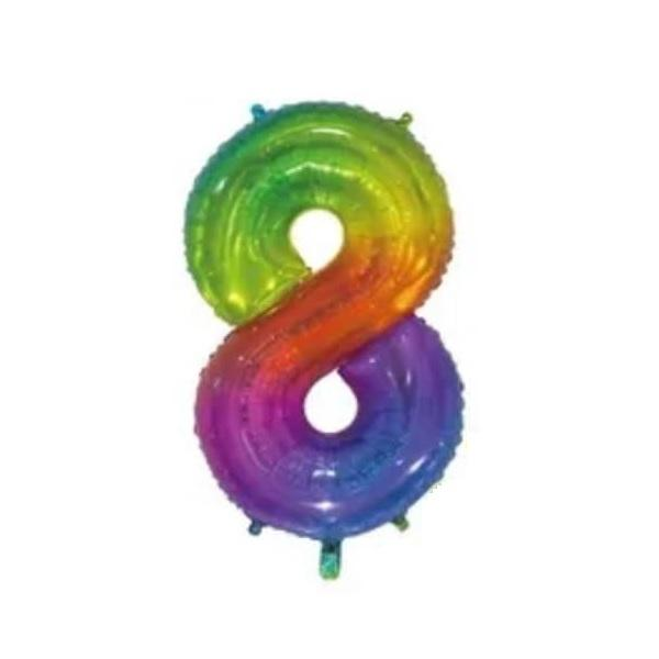 Giant Rainbow Number Foil Balloon - 8 | Party Choice