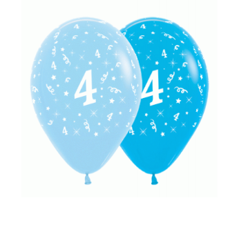 6 Pack Age 4 Balloons - Blue & Royal Blue