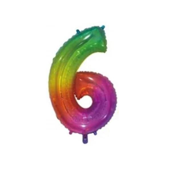 Giant Rainbow Number Foil Balloon - 6 | Party Choice
