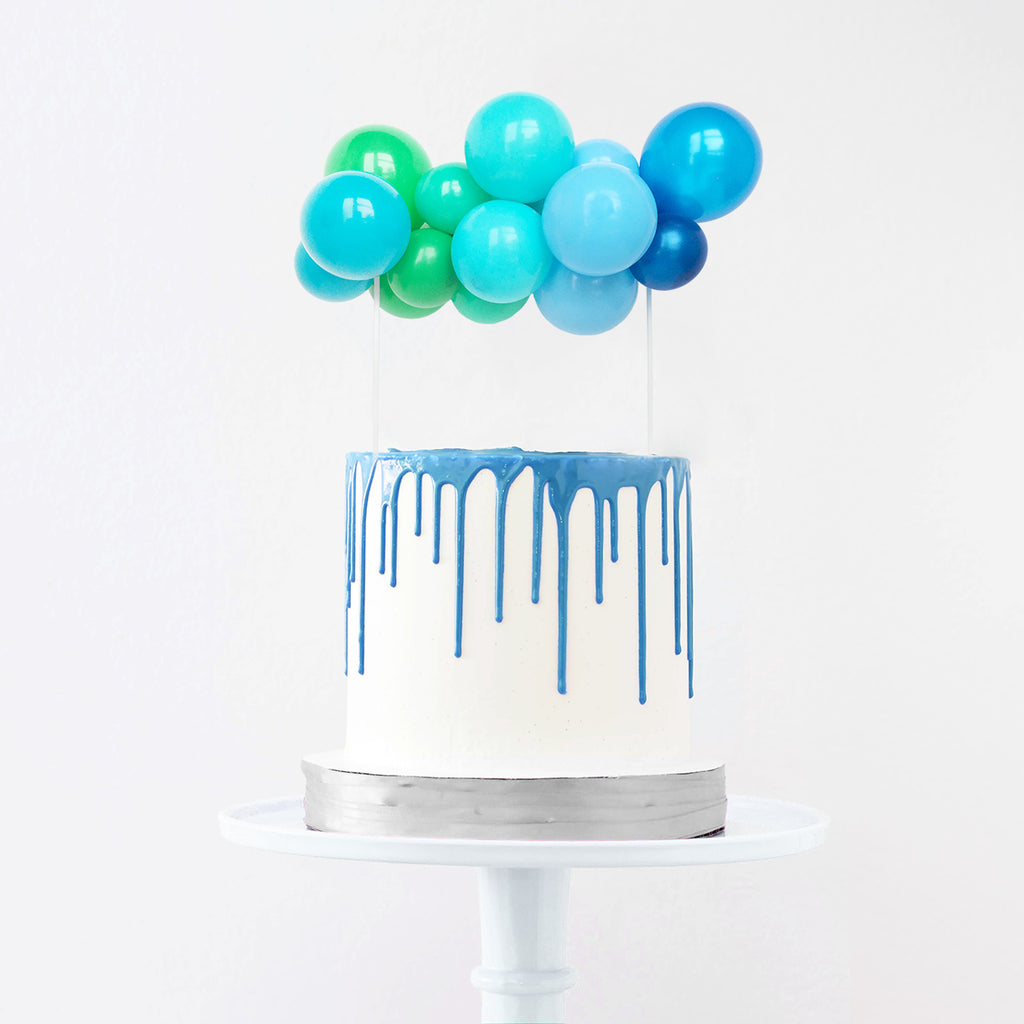 Blue & Green Balloon Cake Topper | Blue Cake Decorations