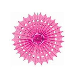 Damask Bright Pink Paper Fan 16 Inch