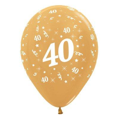 6 Pack Age 40 Balloons - Metallic Gold