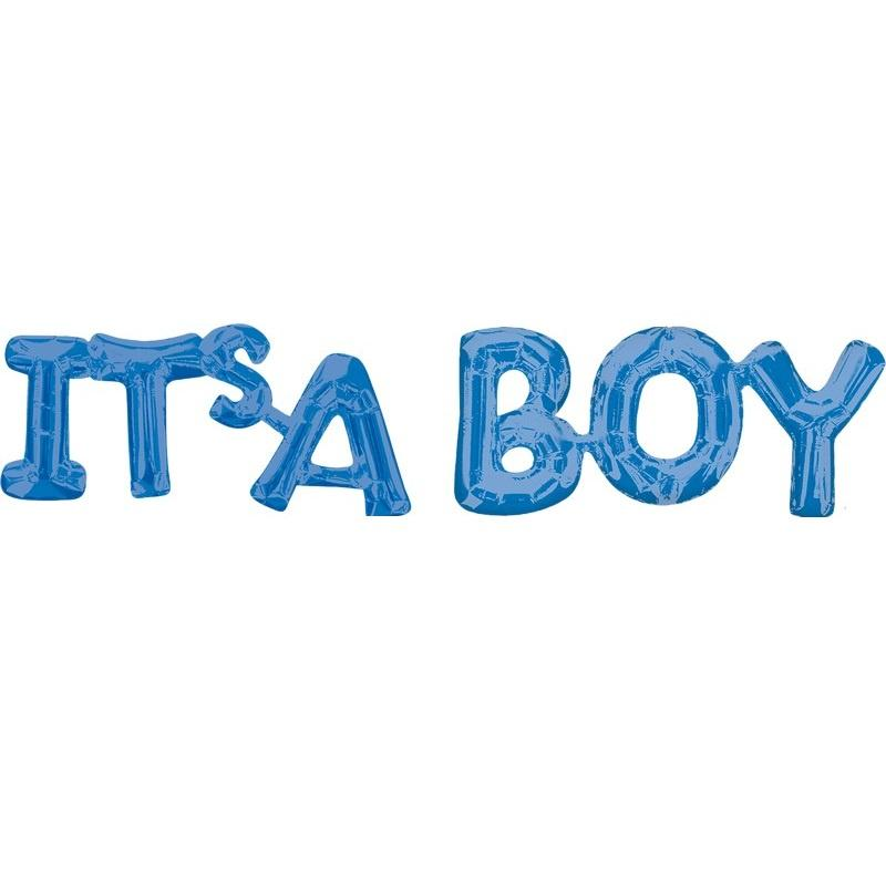Blue Foil Balloon Banner Phrase - It's a Boy