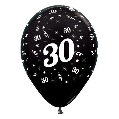 6 Pack Age 30 Balloons - Metallic Black