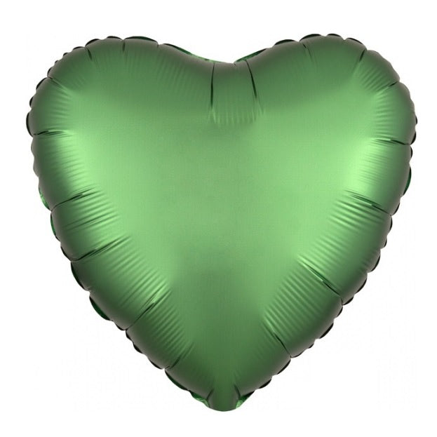 Satin Luxe Emerald Green Heart Foil Balloon