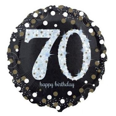 Sparkling Black 70th Foil Balloon