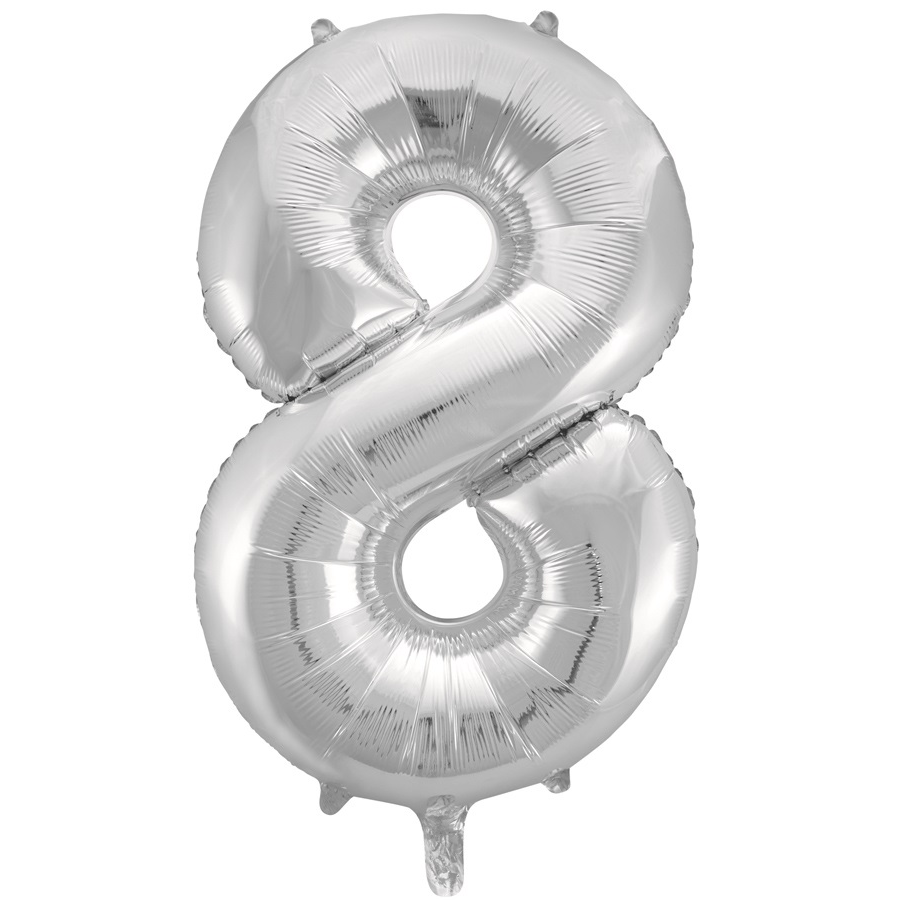 Giant Silver Number Foil Balloon - 8