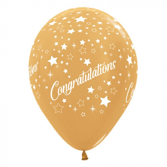 6 Pack Congratulations Stars Balloons - Metallic Gold