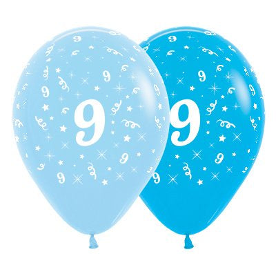 6 Pack Age 9 Balloons - Blue & Royal Blue
