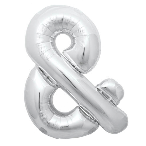 Giant Silver Ampersand Foil Balloon