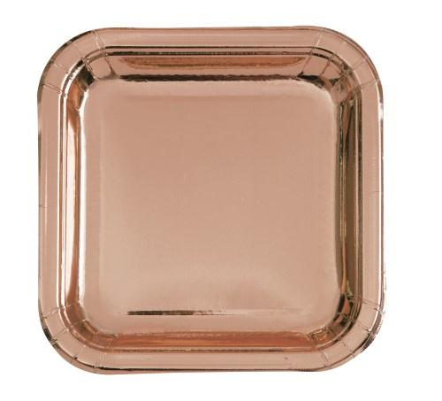 Rose Gold Square Plates - Dinner