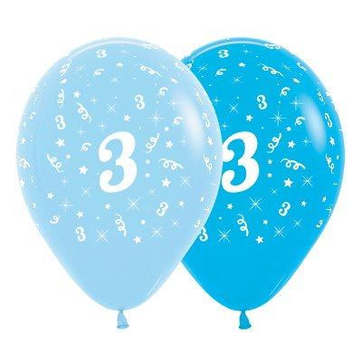 6 Pack Age 3 Balloons - Blue & Royal Blue