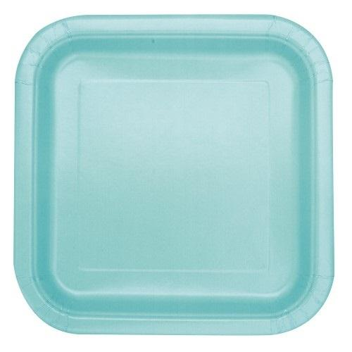 16 Mint Green Square Plates - Lunch
