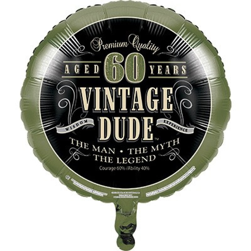 Vintage Dude 60th Birthday Foil Balloon