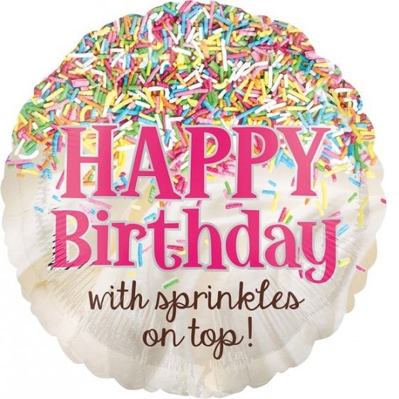 Sprinkles on Top Happy Birthday Foil Balloon