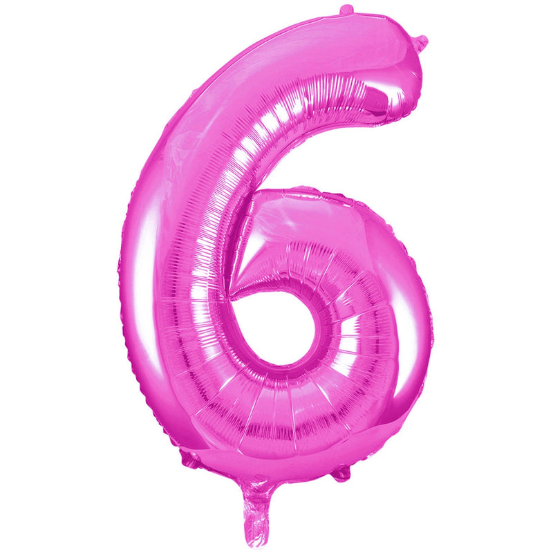 Giant Hot Pink Number Foil Balloon - 6