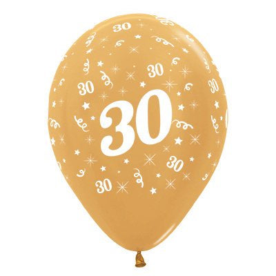 6 Pack Age 30 Balloons - Metallic Gold