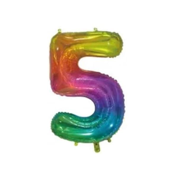Giant Rainbow Number Foil Balloon - 5 | Party Choice