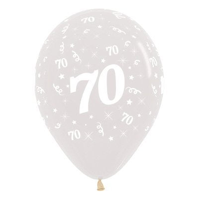 6 Pack Age 70 Balloons - Crystal Clear