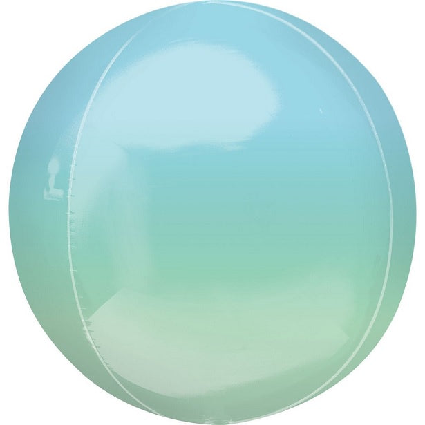Ombre Blue Green Orbz Foil Balloon