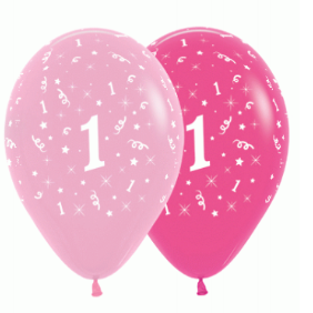 6 Pack Age 1 Balloons - Pink & Hot Pink