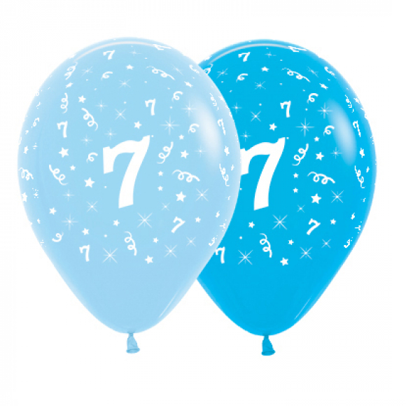 6 Pack Age 7 Balloons - Blue & Royal Blue