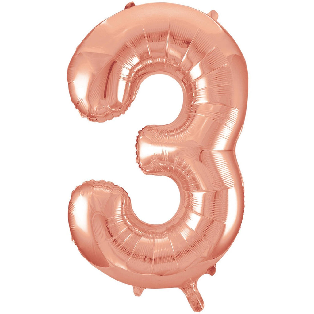 Giant Rose Gold Number Foil Balloon - 3