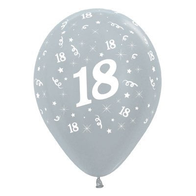 6 Pack Age 18 Balloons - Satin Pearl Silver