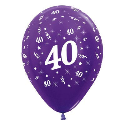 6 Pack Age 40 Balloons - Metallic Purple