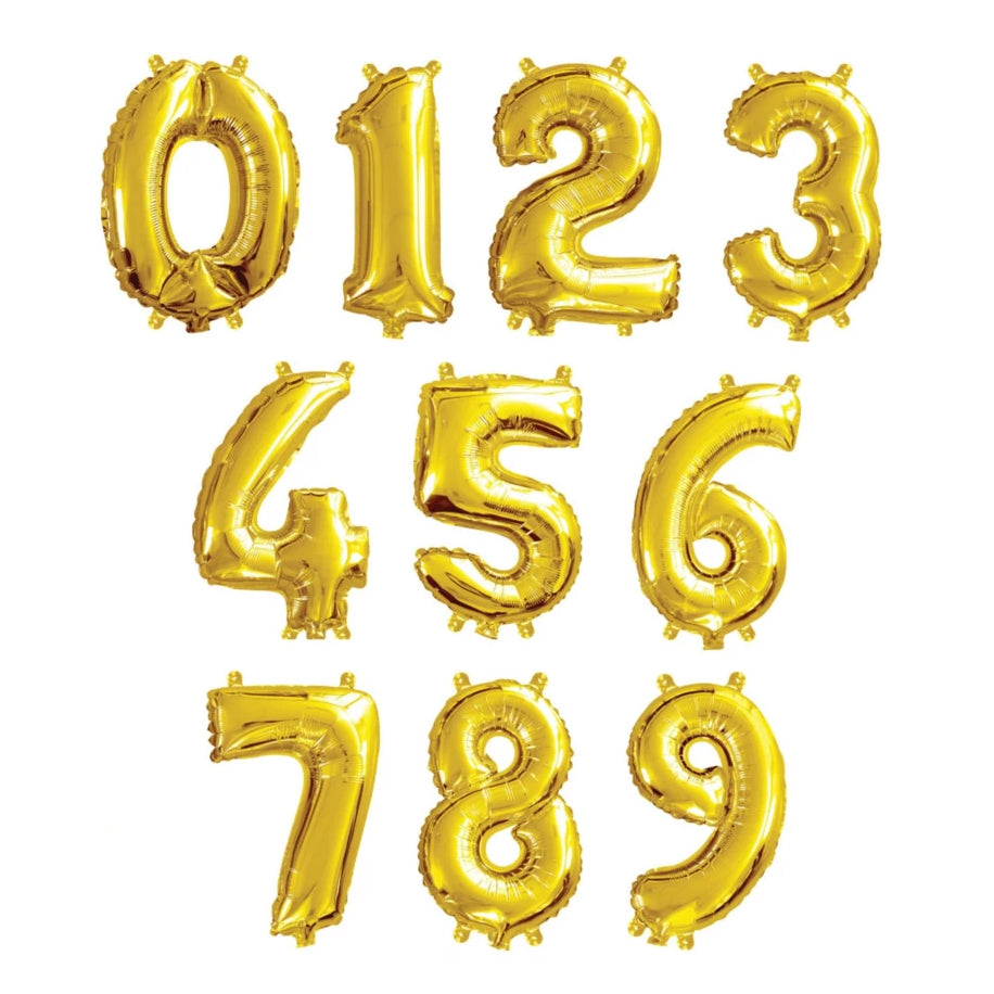 Small Number Foil Balloon - Gold