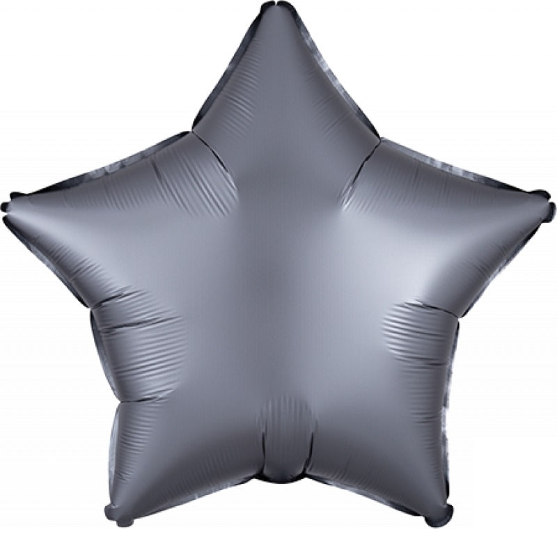 Satin Luxe Graphite Star Foil Balloon